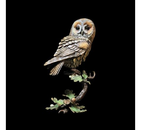 Tawny Owl with Acorns Sculpture, Hand painted in Box (h 145mm) (Gift Boxed) | Richard Cooper Bronze