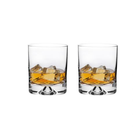 2 Old Fashioned Whisky Tumblers 98mm (Dimple based) (Gift Boxed)  | Royal Scot Crystal