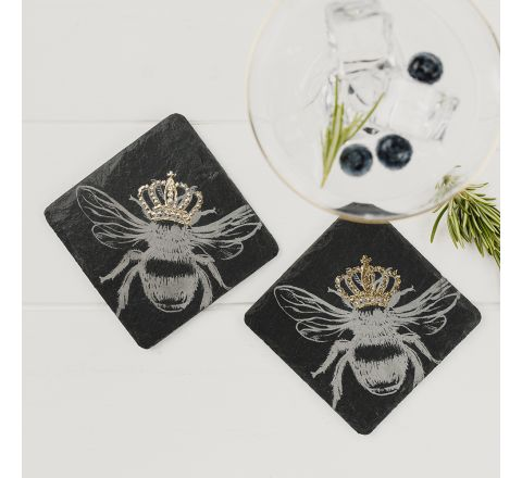 2 Gold Crowned Bee Coasters - New!