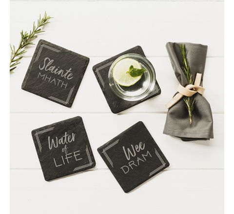 Slate Whisky Coasters (set of 4)