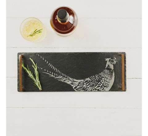 Pheasant Slate Serving Tray with Copper Handles