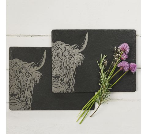 Slate Highland Cow Place Mats (set of 2)