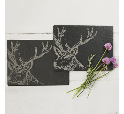 Slate Stag Place Mats (table mats) (set of 2)