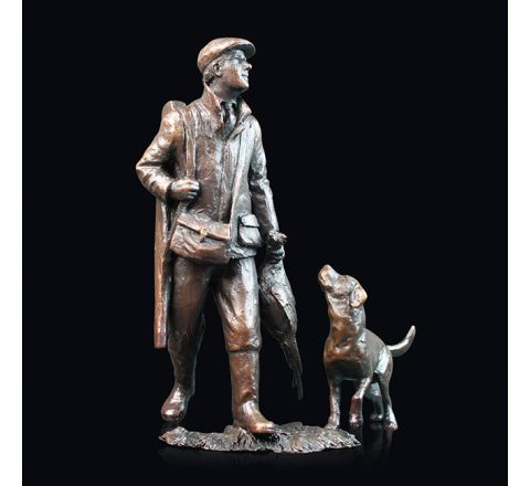 End of the Day - Hunter and Dog Sculpture (h150mm) (Gift Boxed) | Richard Cooper Bronze