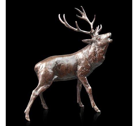 Stag Roaring Sculpture (h130mm) (Gift Boxed) | Richard Cooper Bronze