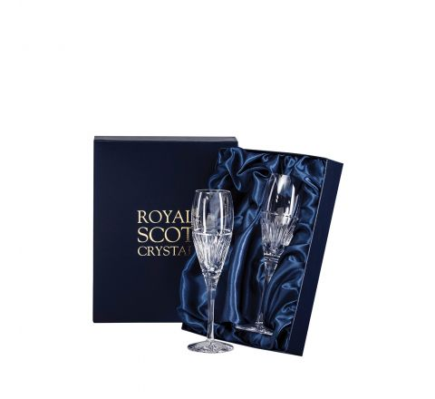 Art Deco 2 Crystal Prosecco / Champagne Flutes - 218 mm (Presentation Boxed) | Royal Scot Crystal - New Shape!