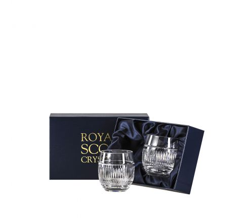 Art Deco Crystal 2 Large Barrel / Water Tumblers - 95 mm (Presentation Boxed) | Royal Scot Crystal