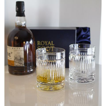 Art Deco - 2 Large On the Rocks Tumbler 100 mm (Presentation Boxed) | Royal Scot Crystal