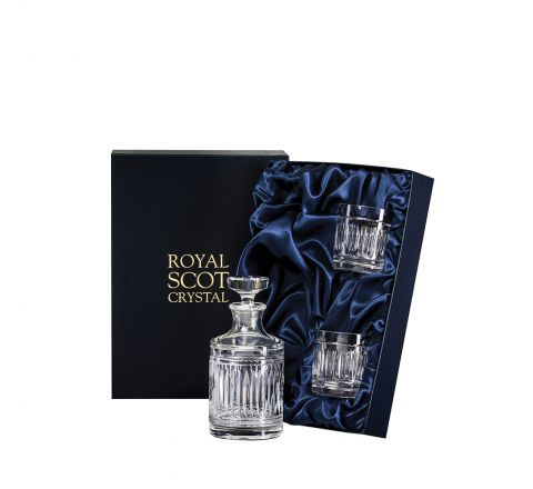 Art Deco Single Malt Round Spirit Set  - 1 Round Decanter & 2 Crystal Whisky Tumblers (Presentation Boxed) | Royal Scot Crystal