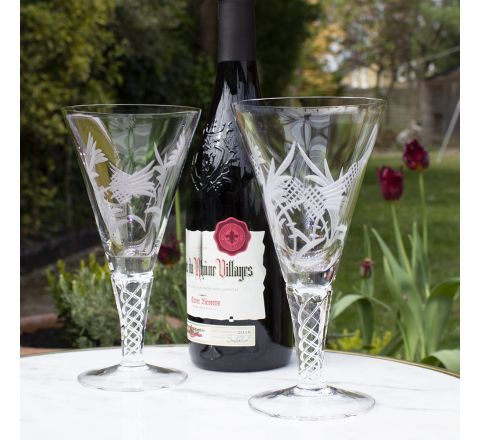 Jacobean Air Twist - 2 Flower of Scotland - 2 Large Wine Glasses 192mm (Gift Boxed) | Royal Scot Crystal