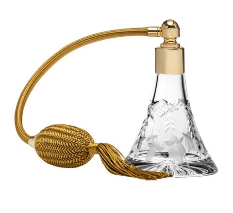 Annabel Crystal Glass Perfume Bottle (Conical) with Gold Atomiser (Gift Boxed)
