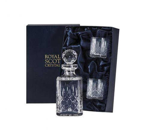 Aviemore - Whisky Set (Sq Spirit Decanter & 2 OF Tumblers) (Midnight Blue Presentation Boxed) | Royal Scot Crystal