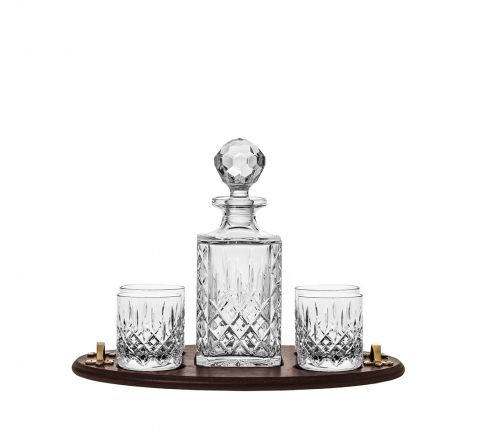 Aviemore Club Tray Set (Square Decanter & 4 Old Fashioned Tumblers on Solid Oak Wooden Tray) (Gift Boxed) | Royal Scot Crystal