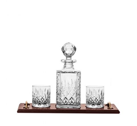Aviemore Whisky Tray Set - (Square Decanter & 2 Old Fashioned Tumblers on solid oak wooden tray) (Gift Boxed) | Royal Scot Crystal
