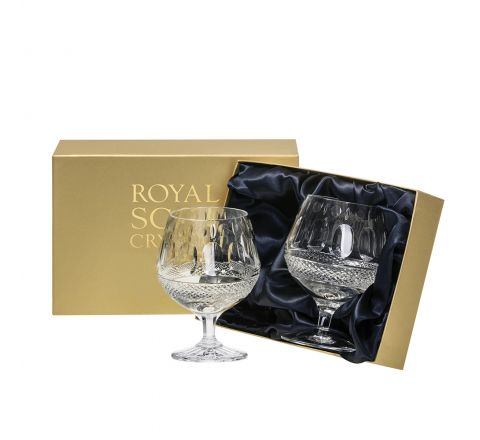 Belgravia - 2 Crystal Brandy Glasses (Clear) - 132mm (Presentation Boxed) | Royal Scot Crystal