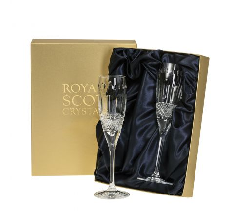 Belgravia - 2 Crystal Champagne Flutes (Clear) - 218mm (Presentation Boxed) | Royal Scot Crystal