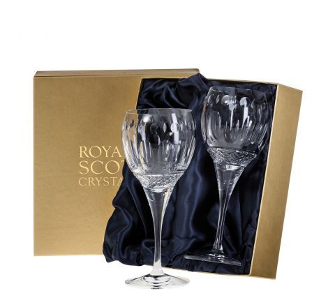 Belgravia - 2 Crystal Large Wine Glasses (Clear) - 210mm (Presentation Boxed) | Royal Scot Crystal