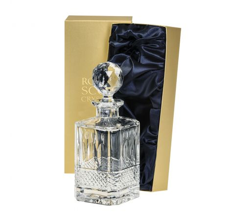 Belgravia - 1 Square Spirit Decanter (Clear) - 245mm (Presentation Boxed) | Royal Scot Crystal