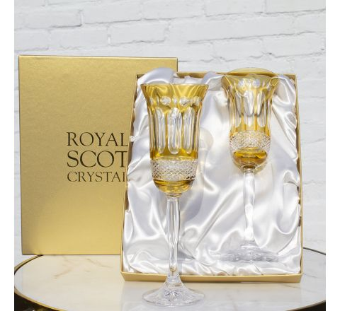 Belgravia - 2 Champagne Flutes (Gold Amber) - 230 mm (Presentation Boxed) | Royal Scot Crystal - New!