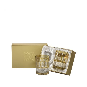 Belgravia - 2 Large Crystal Tumblers (Gold Amber) - 95mm (Presentation Boxed) | Royal Scot Crystal - New!