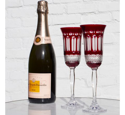 Belgravia - 2 Champagne Flutes (Ruby Red) - 230 mm (Presentation Boxed) | Royal Scot Crystal - New Shape!
