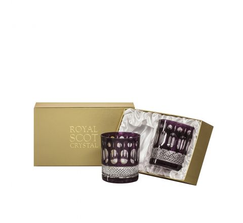 Belgravia - 2 Large Crystal Tumblers (Mulberry) - 95mm (Presentation Boxed) | Royal Scot Crystal - New