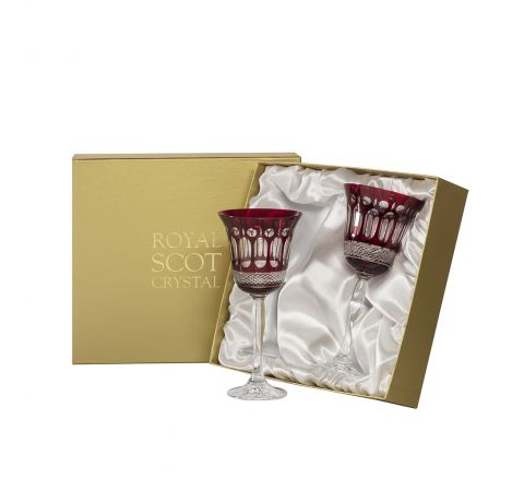 Belgravia - 2 Large Crystal Wine Glasses (Ruby Red) - 210 mm (Presentation Boxed)   Royal Scot Crystal - New Shape!