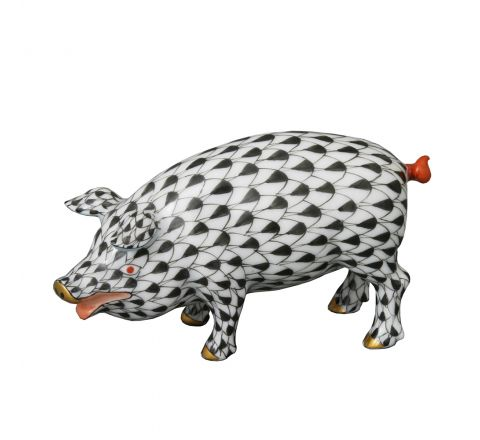 Standing Pig Black - Porcelain Animal Figurine 88mm long | Herend