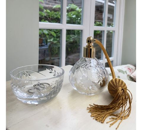 BUNDLE OFFER Annabel Crystal Glass Perfume Bottle (Round) with Gold Atomiser (Gift Boxed) and Annabel Crystal Ring Bowl 90mm (Gift Boxed)