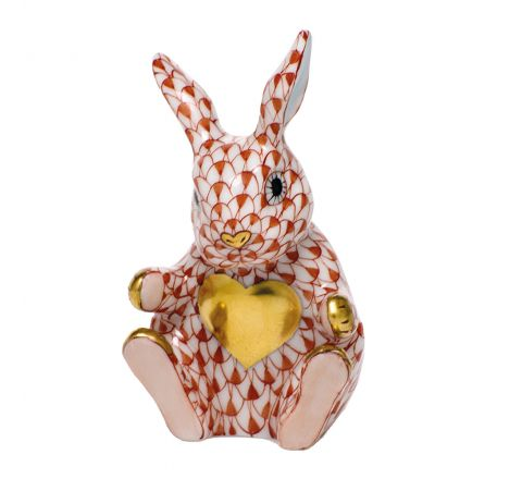Sweetheart Bunny Rust (with gold heart) - Porcelain Animal Figurine 60mm | Herend