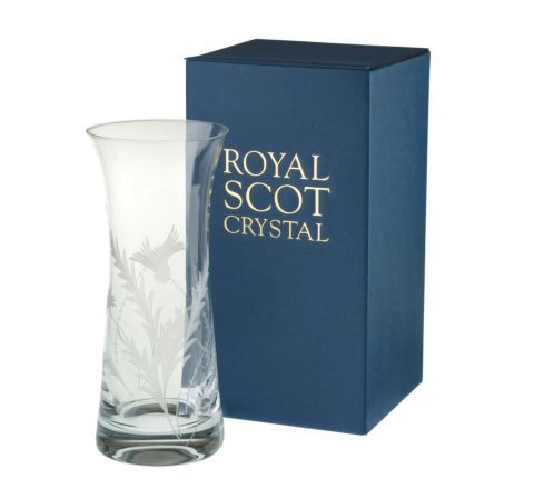 Flower of Scotland (thistle) Lily Vase 230mm (Gift Boxed) | Royal Scot Crystal