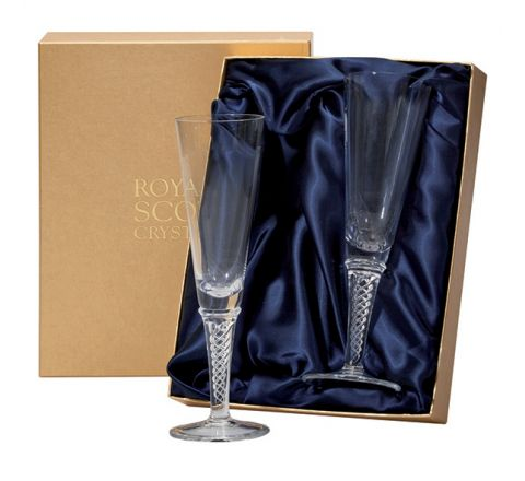 Jacobean Air Twist - 2 Champagne Flutes (Plain) 230mm (Presentation Boxed) | Royal Scot Crystal