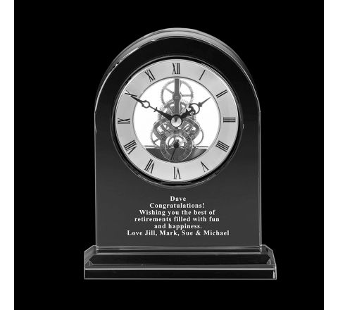 Personalised - Crystal Engraved Large Mantle Clock - 160mm (Presentation Boxed) | Royal Scot Crystal
