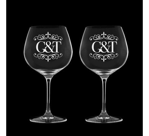 Gin and Tonic (engraved G&T) - 2 Copa Glasses 210mm (Gift Boxed) | Royal Scot Crystal