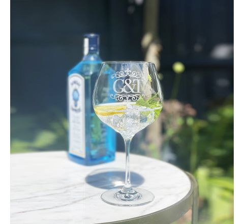 Gin and Tonic (engraved G&T) - Copa Glass 210mm (Gift Boxed) | Royal Scot Crystal