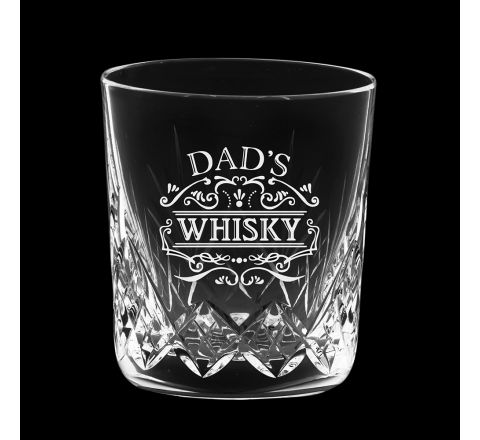 Highland Crystal single Large Whisky Tumbler engraved 'Dad's Whisky', Perfect for Father's Day 95mm  (Gift Boxed) | Royal Scot Crystal