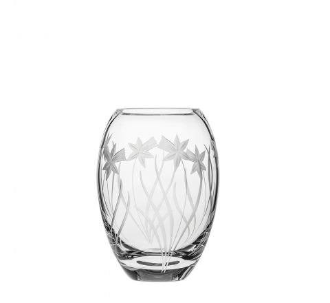 SALE - Daffodils Small Barrel Vase 145mm (SECONDS QUALITY) (BROWN CARD BOX)| Royal Scot Crystal