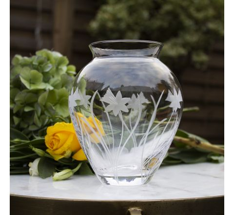 SALE - Daffodils Medium Posy Vase 150mm (Gift Boxed) | Royal Scot Crystal