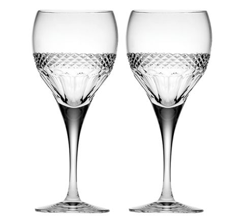 Diamonds - 2 Crystal Large wine Glasses (Gift Boxed)