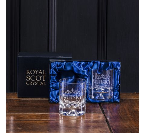 Whisky (engraved) - 2 Large Tumblers (Dimple Base) (Presentation Boxed) | Royal Scot Crystal - Perfect Father's Day Gift