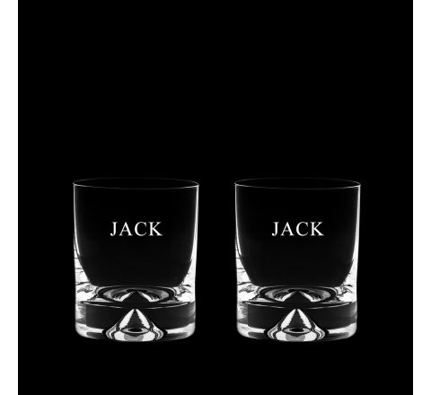 Personalised - Hand Cut with Engraving - 2 Dimple Based Large Tumblers 98 mm (Gift Boxed) | Royal Scot Crystal