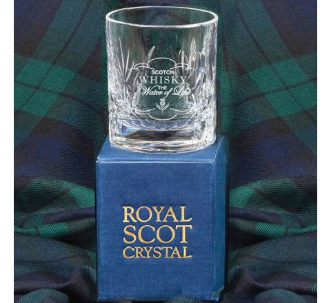 Kintyre Double Tot (Shot) Glass engraved 'Whisky - The Water of Life' (Gift Boxed)