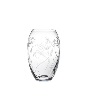 Dragonfly Medium Barrel Vase (Giftware) - 180mm (Gift Boxed) | Royal Scot Crystal