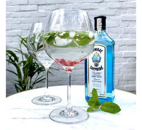 Diamante (Swarovski) - 2 GIN AND TONIC (G&T) COPA GLASSES (Presentation Boxed)