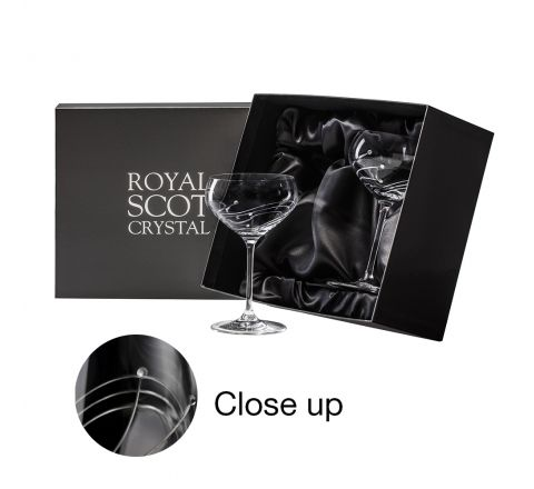 Diamante (Swarovski crystals) - 2 Saucer Champagne Cocktail glasses (Presentation Boxed)