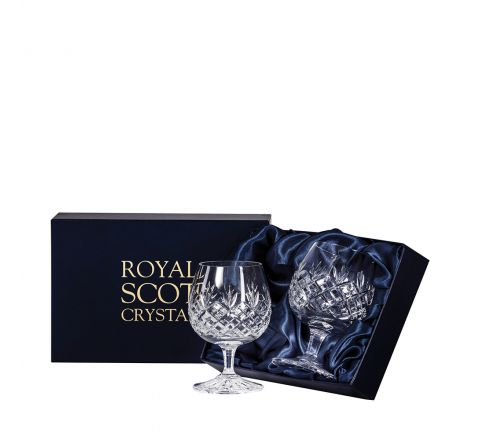 Edinburgh - 2 Crystal Brandy Glasses 132mm (Presentation Boxed) | Royal Scot Crystal - New Shape