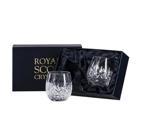 Edinburgh - 2 Gin & Tonic Crystal Tumblers (G&T) 12oz (Barrel Shaped) 95mm (Presentation Boxed) | Royal Scot Crystal