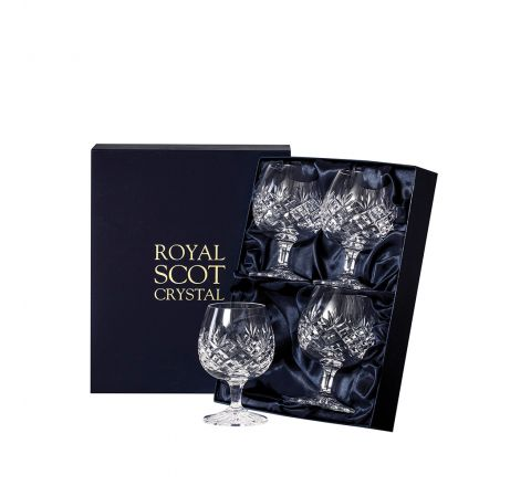 Edinburgh - 4 Crystal Brandy Glasses 132mm (Presentation Boxed) | Royal Scot Crystal - New Shape
