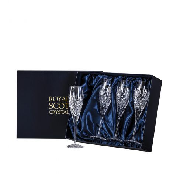 Edinburgh - 4 Crystal Champagne Flutes 218mm (Presentation Boxed) | Royal Scot Crystal - New Shape