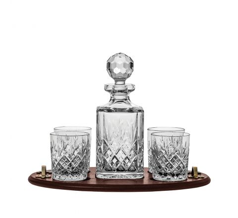 Edinburgh Club Tray Set (Square Decanter & 4 Large Tumblers on a Solid Oak Wooden Tray) (Gift Boxed) | Royal Scot Crystal